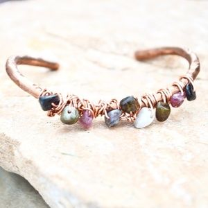 Pink Black Green Tourmaline Copper Cuff Bracelet